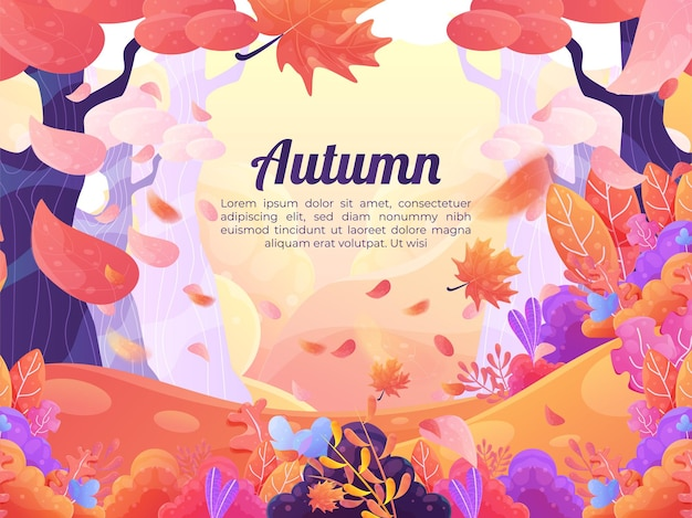 Hand drawn background with autumnal landscape