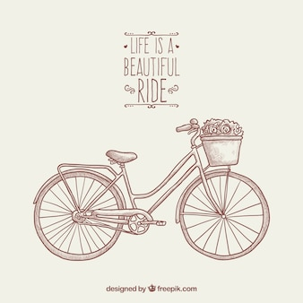 Hand drawn background with bike and flowers