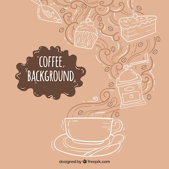 Hand-drawn background with coffee cup and sweets
