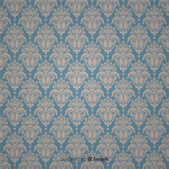 Hand drawn background with damask pattern