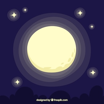 Hand-drawn background with full moon and stars