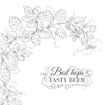 Hand drawn background with hops
