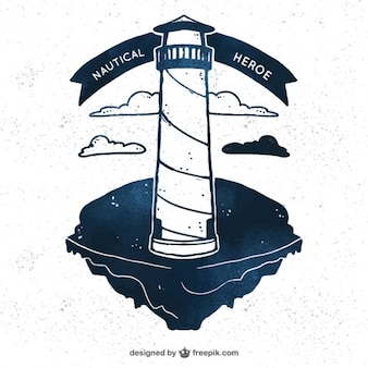 Hand-drawn background with lighthouse in vintage style