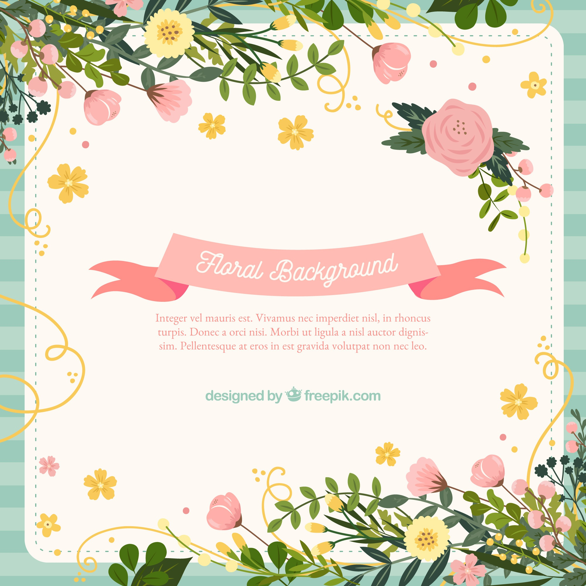 Hand drawn background with lovely flowers