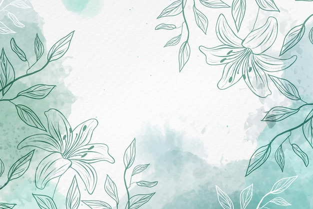 Hand drawn background with pastel flowers copy space