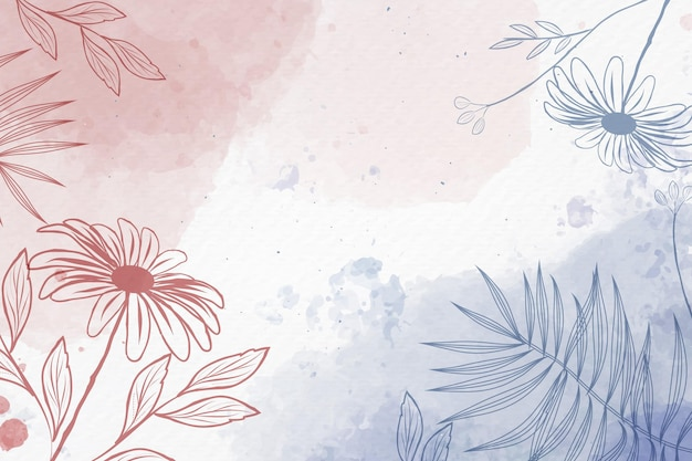 Hand drawn background with pastel flowers