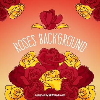 赤と黄色のバラと手描きの背景