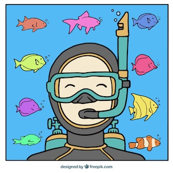 Hand drawn background with scuba diver