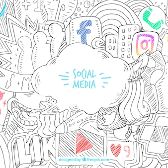 Hand drawn background with social media icons