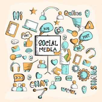 소셜 네트워크 요소와 손으로 그린 배경