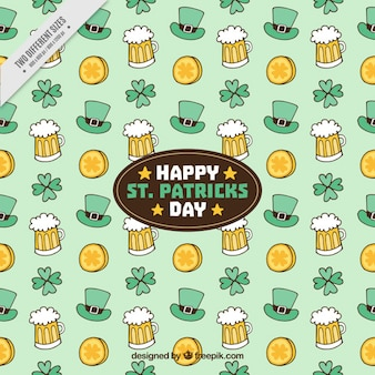 Hand-drawn background with st patrick's day objects
