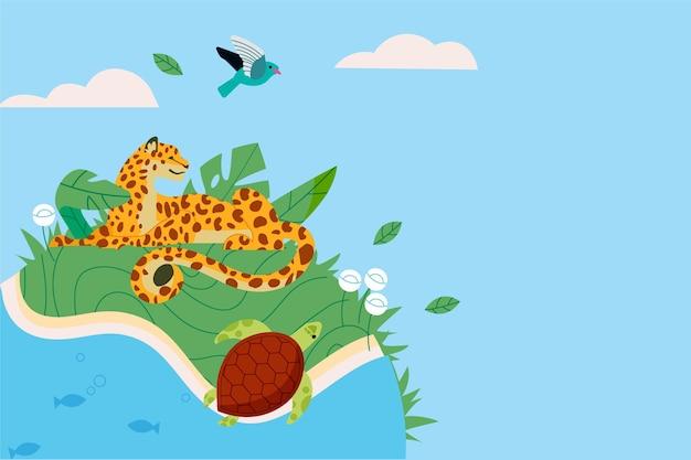 手描きの世界動物の日の背景