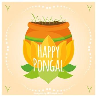 Рисованной фон с растительностью для pongal