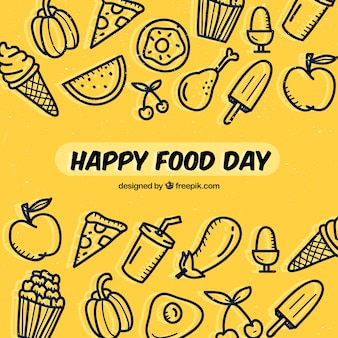 Hand-drawn background for world food day