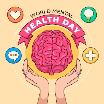 Hand drawn background world mental health day with brain and hands