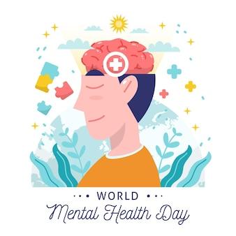 Giornata mondiale della salute mentale di sfondo disegnato a mano con testa e segni più