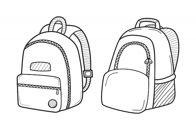 Hand drawn backpacks