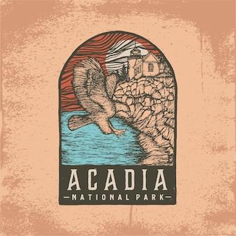 アカディア国立公園の手描きバッジ