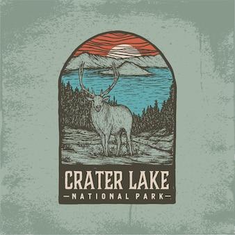 クレーターレイク国立公園の手描きバッジ