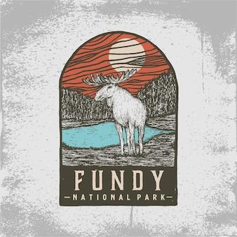 ファンディー国立公園の手描きバッジ