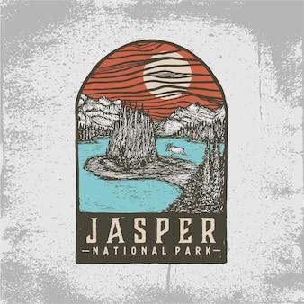 ジャスパー国立公園の手描きバッジ