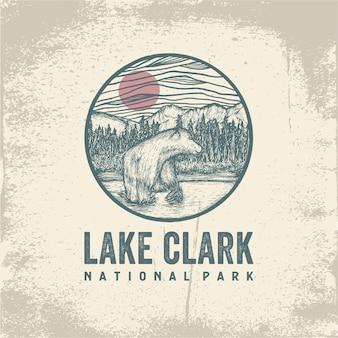Ручной обращается значок национального парка озера кларк