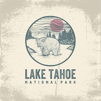 Ручной обращается значок национального парка озера тахо