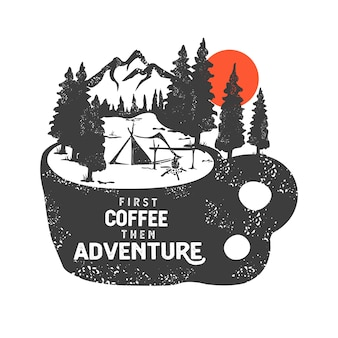 Hand drawn badge with mountain landscape and inspiring lettering
