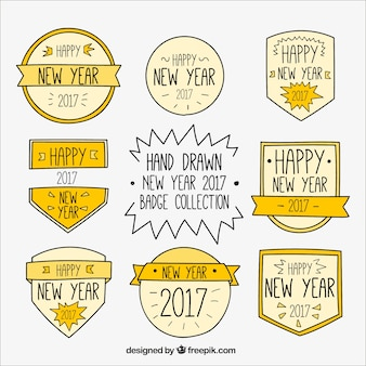 Hand-drawn badges collection of new year