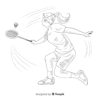 Hand drawn badminton player with racket