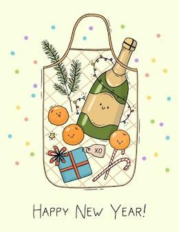 Hand drawn bag with christmas shopping