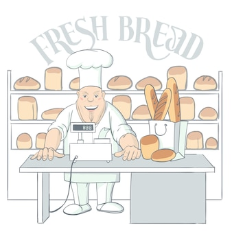 Hand drawn baker character in shop illustration