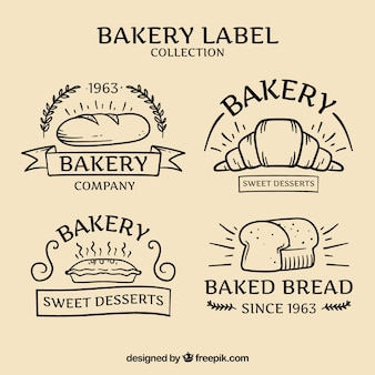 Hand drawn bakery badges pack