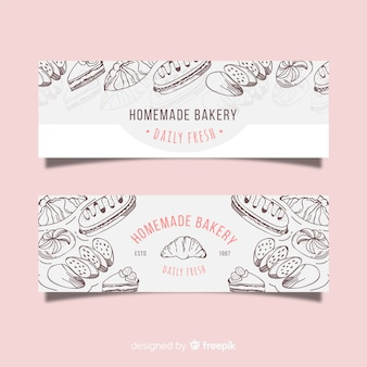 Hand drawn bakery banners