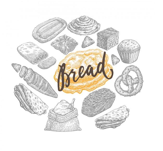 Рука нарисованные хлебобулочные концепции