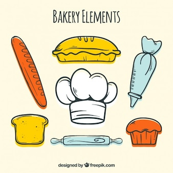 Hand drawn bakery elements and products
