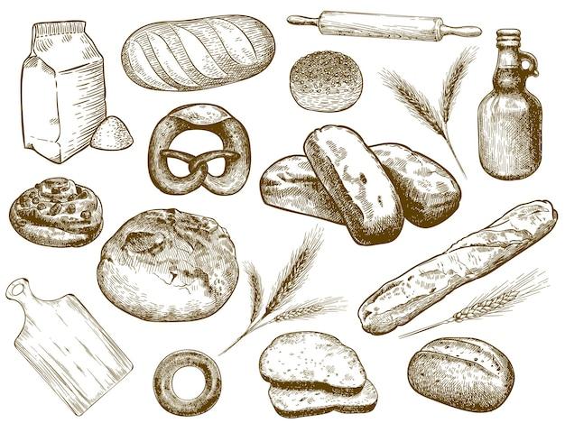 Ручной обращается пекарня. свежеиспеченный хлеб, колосья пшеницы и мука для выпечки.