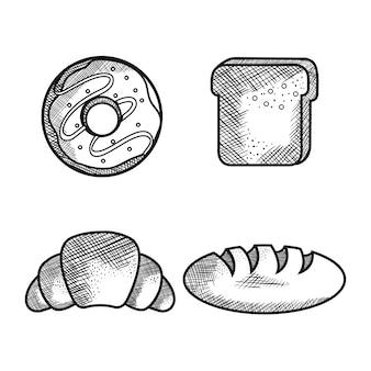 Рисованной хлебобулочных изделий на белом фоне. векторные иллюстрации.