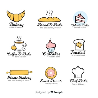 Hand drawn bakery logo template