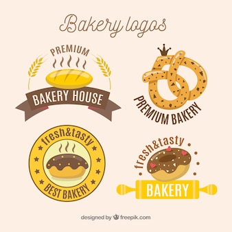 Hand drawn bakery logos collection