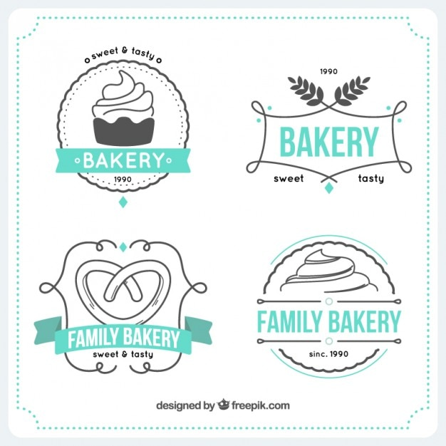 Hand drawn bakery logos templates