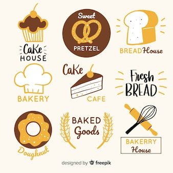 Hand drawn bakery logos