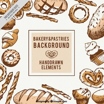 Hand drawn bakery and pastries background