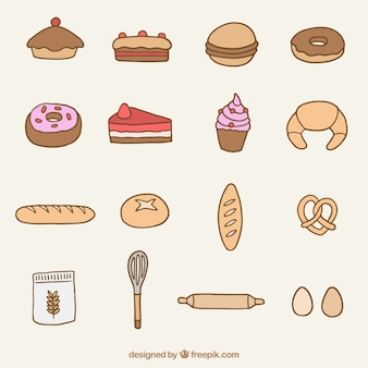 Hand drawn bakery product and dessert collection