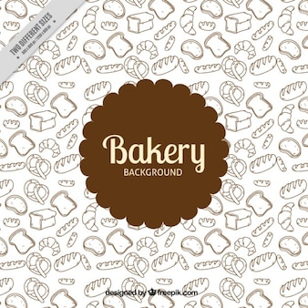Hand drawn bakery products background