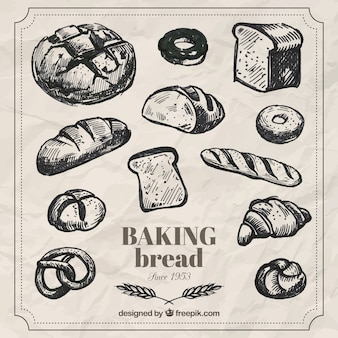 Hand drawn baking bread pack