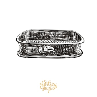 Hand drawn baking pan illustration.