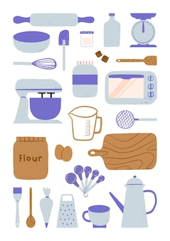 Hand drawn baking tools and equipment bakery kitchen elements illustration