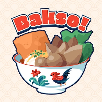 Hand drawn bakso in a bowl