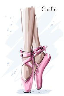 Hand drawn ballet dancer legs in pointe shoe